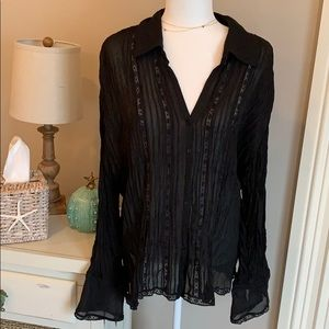 Allison Taylor black button down sheer blouse 2X